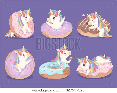 Unicorn Dessert. Magic Cute Little Rose Pony With Donuts Cupcakes Sweets Vector Characters. Horse Ch