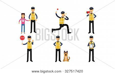 Policeman In High Visibility Yellow Safety Jacket In Daily Actions Vector Illustration Set Isolated