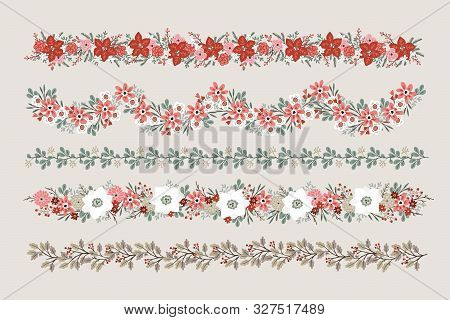 Set Of Christmas Floral Borders, Strings, Garlands Or Brushes. Party Decoration With Fir, Oak And Eu