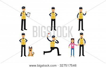 Policeman In High Visibility Yellow Safety Jacket Doing Daily Work Vector Illustration Set Isolated