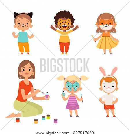 Face Painting. Kids Makeup Funny Animals Cartoon Boys And Girls Teacher Drawing On Face Vector Chara