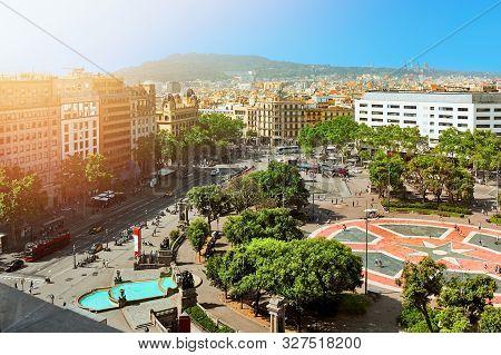 Placa De Catalunya. Catalonia Square In Barcelona.