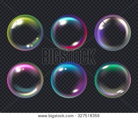 Soap Bubbles. Liquid Macro Water Bubble Vector Collection. Bubble Soap, Air Transparent Multicolored