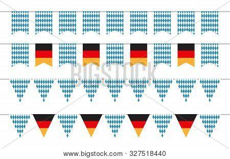 Oktoberfest Garlands. Oktoberfest Bunting Flags. Bavarian And German Banners Vector Set. Illustratio