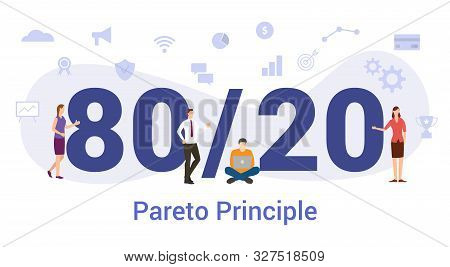 80/20 Rule Pareto Business Concept With Big Word Or Text And Team People With Modern Flat Style - Ve
