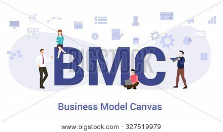 Bmc Business Model Canvas Concept With Big Word Or Text And Team People With Modern Flat Style - Vec