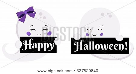 Vector Illustration Flat Design Kawaii Cute Boy And Girl Ghost With Happy Halloween Plates Isolated