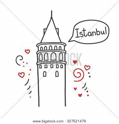 Vector Line Illustration Of A Turkish Landmark Galata Tower In Istanbul, Turkey. Doodle Outline Land