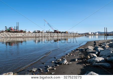 A View Of An Inlet Leading To The Bering Sea In Nome Alaska.