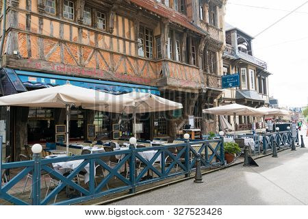 Etretat, Seine-maritime / France - 14 August 2019: View Of The Historic Salamandre Restaurant In The