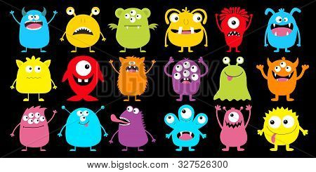 Monster Colorful Silhouette Super Big Icon Set. Happy Halloween. Eyes, Tongue, Tooth Fang, Hands Up.