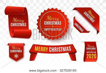 Christmas Sale Tags Collection. Red Scrolls And Banners Isolated. Merry Christmas And Happy New Year