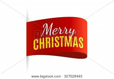 Christmas Tag Isolated. Red Vector Banner. Merry Christmas Label. Vector Illustration