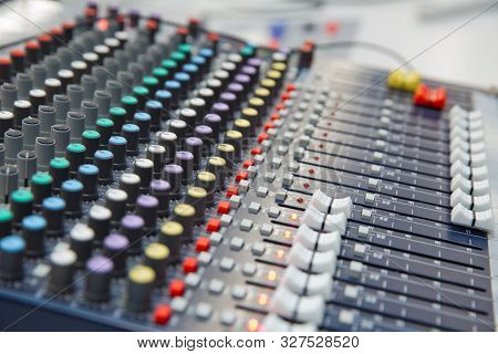 Picture Of Musical Amplifier Sound Amplifier Or Music Mixer With Knobs, Jack Holes And Mic Connector