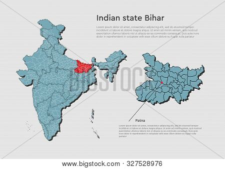India Country Map Bihar State Template Concept
