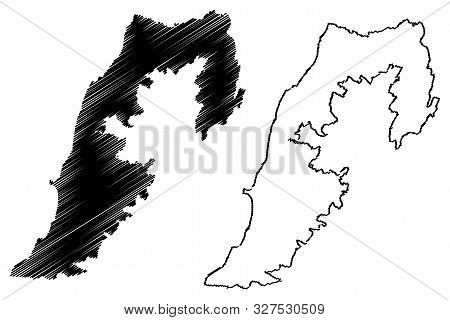 South Governorate (lebanese Republic, Governorates Of Lebanon) Map Vector Illustration, Scribble Ske