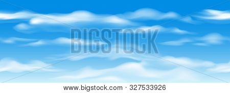 Blue Sky With Clouds Horizontal Seamless Pattern. Cloud Graphics Seamless Texture, Cloudy Weather Ov