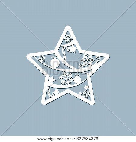 Lasercut Toy Star Christmas Theme Design Element Of A Lasercut Lace Christmas Toy Star For Laser Cut