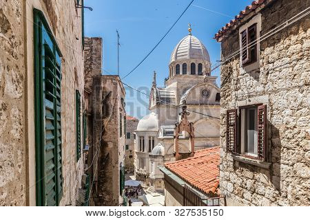 Croatia, City Of Sibenik, Panoramic View Of The Old Town Center And Cathedral Of St James, Most Impo