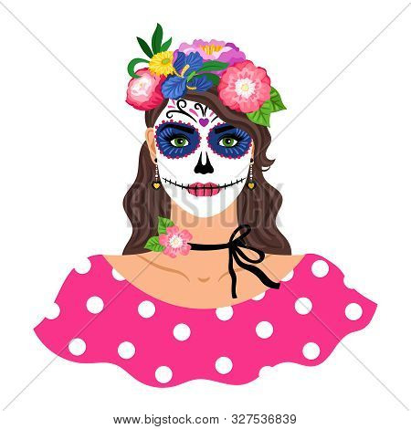 Woman With Sugar Skull Make Up Vector Illustration. Girl With Flowers Wreath Isolated On White Backg