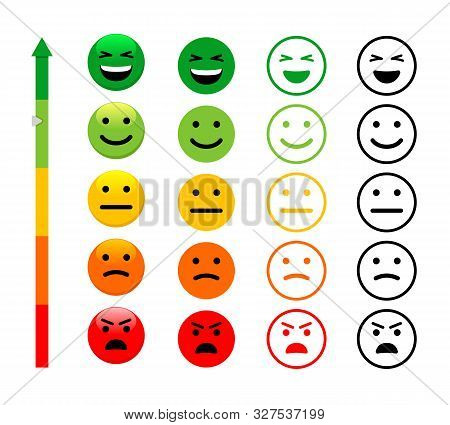 Ranking Scale Faces Vector Illustration. Customer Satisfaction Rating. Happy, Smiling And Angry Face