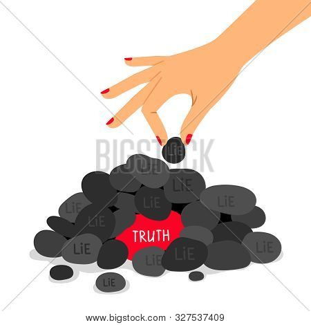 Truth And Lie Concept Vector Illustration. True And Fake Information. Correct And False Answers Meta