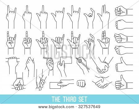 Hands Showing Gestures Outline Illustrations Set. Arm Holding Bar, Handrail Isolated Cliparts On Whi