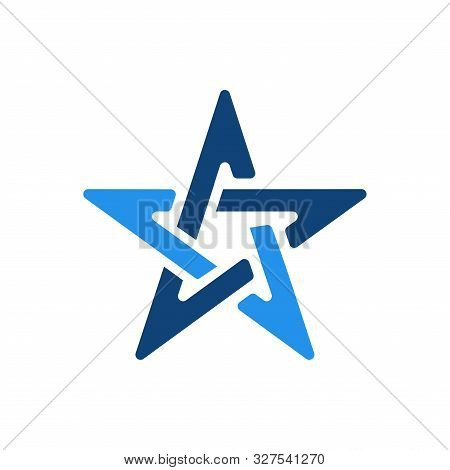 Star Icon Logo Cg Letter Blue Color Design Concept