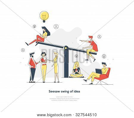Business Swing. Idea, Competition. Rivalry Concept. Vector Illustration