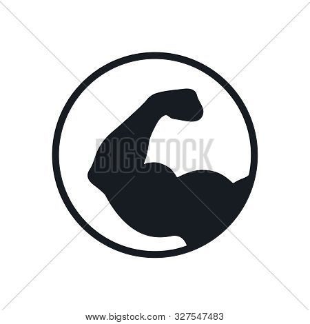Strong Hand Graphic Icon. Brawny Hand Sign In The Circle  Isolated On White Background. Bodybuilding