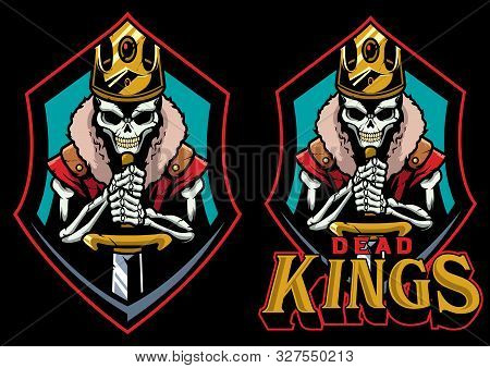 Cartoon Mascot Or Logo With Dead King.