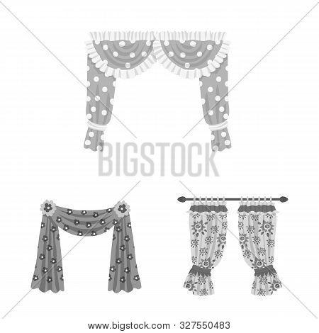 Vector Illustration Of Interior And Cornice Sign. Collection Of Interior And Drapes Stock Vector Ill