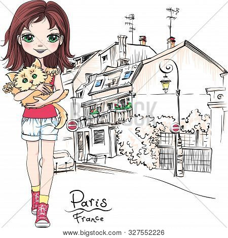 Vector Cute Girl With Cat In Paris, France