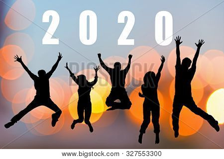 Happy Friends Team Work And Adult People Jumping Congratulation Graduation In Happy New Year 2020.