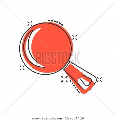 Vector Cartoon Frying Pan Icon In Comic Style. Cooking Pan Concept Illustration Pictogram. Skillet K
