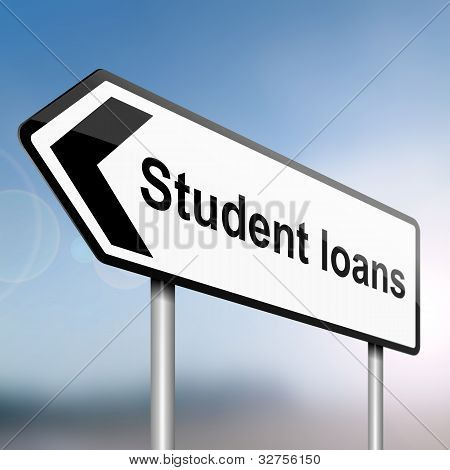 illustration depicting a sign post with directional arrow containing a student loans concept. Blurred background. poster