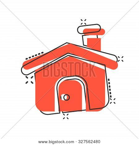 House Building Icon In Comic Style. Home Apartment Vector Cartoon Illustration Pictogram. House Dwel