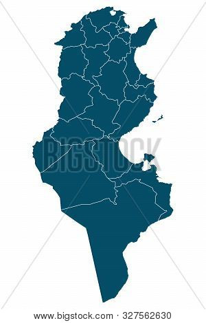 Tunisia Map With Boundaries Vector Illustration Background. Light Blue Color.