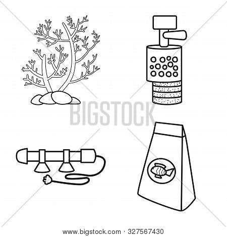 Vector Design Of Fishbowl And Accessory Icon. Set Of Fishbowl And Care Stock Symbol For Web.