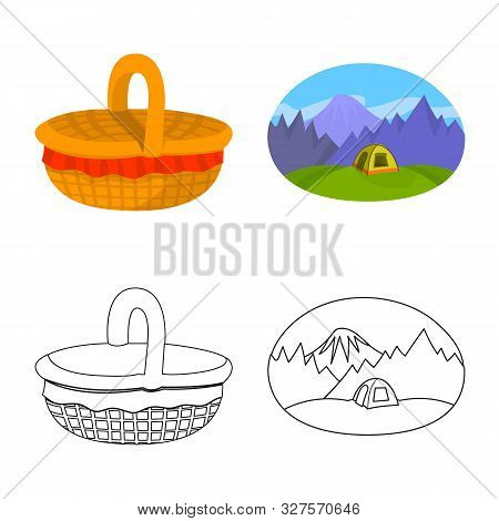 Vector Illustration Of Cookout And Wildlife Symbol. Set Of Cookout And Rest Stock Symbol For Web.