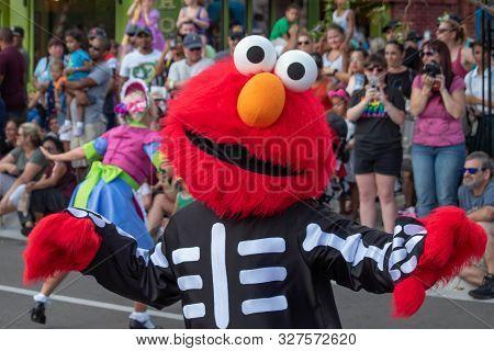 Orlando, Florida. October 5, 2019. Elmo Dancing In Sesame Street Party Parade At Seaworld 71