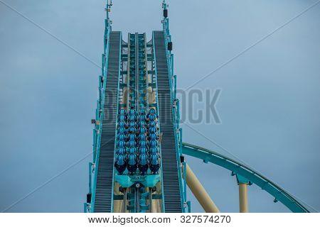 Orlando, Florida. October 5, 2019. People Having Fun Terrific Kraken Rollercoaster At Seaworld 27