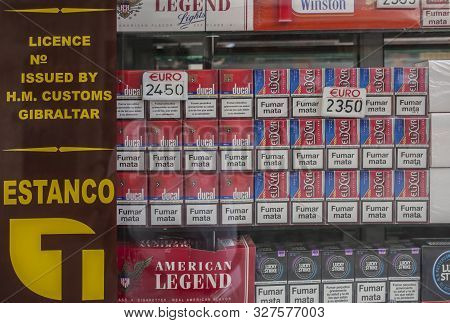 Gibraltar, Uk - July 27th 2019: Duty Free Tobacco Shop In Gibraltar. Cigarettes Are 40% Cheaper Than