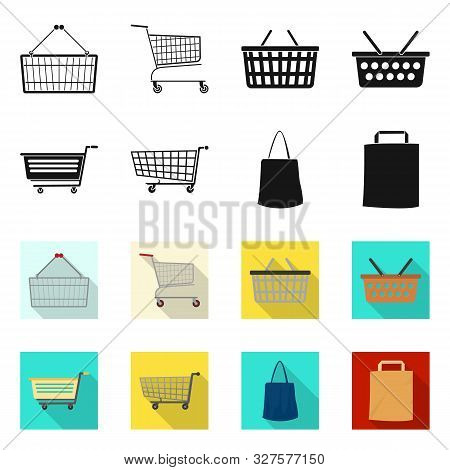 Isolated Object Of Pushcart And Cart Sign. Set Of Pushcart And Market Vector Icon For Stock.