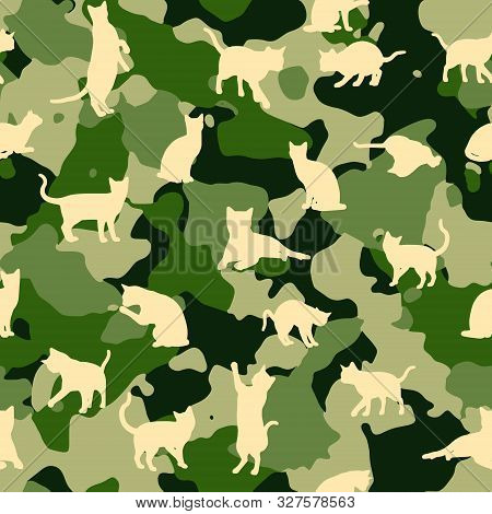 Seamless Camouflage Vector Pattern With Silhouettes Of Cats