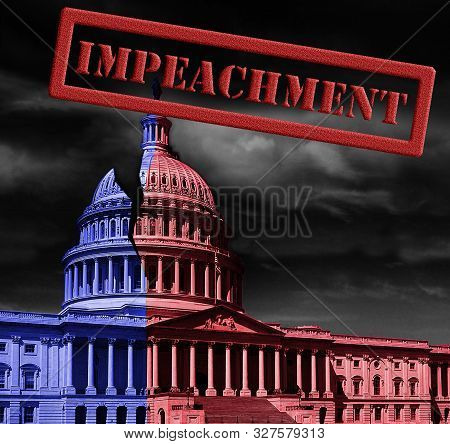 The United States Capitol Building Half Red And Blue, With Impeachment Stamp Text, Representing Demo
