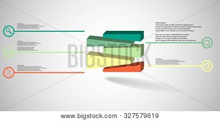 3D Illustration Infographic Template With Embossed Cube Randomly Divided To Five Moved Parts