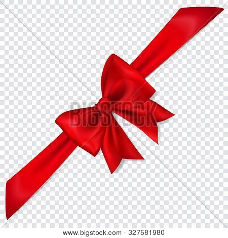 Beautiful Red Bow With Diagonally Ribbon With Shadow On Transparent Background