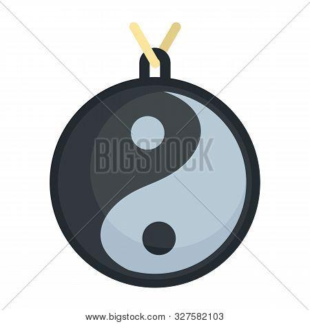 Yin Yang Medallion Icon. Flat Illustration Of Yin Yang Medallion Vector Icon For Web Design