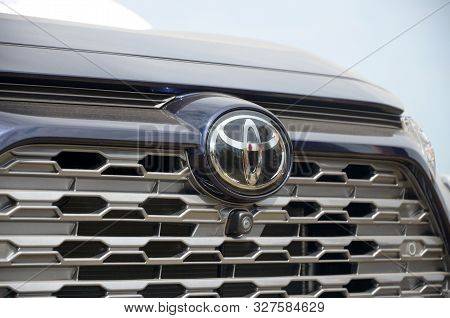Kharkov, Ukraine - August 31, 2019: Toyota Logo Close Up. Toyota Motor Corporation Is Japanese Multi